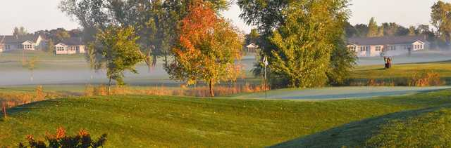 A fall day view of a hole from Golf at the Legacy.