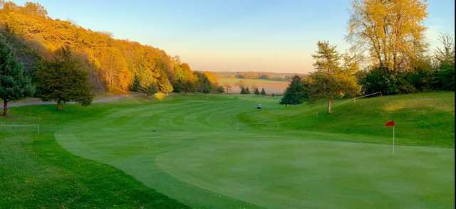 A fall day view of a hole at Clifton Highlands Golf Course.