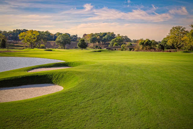 View of the 3rd green from The Azalea Nine at Bobby Jones Golf Course.