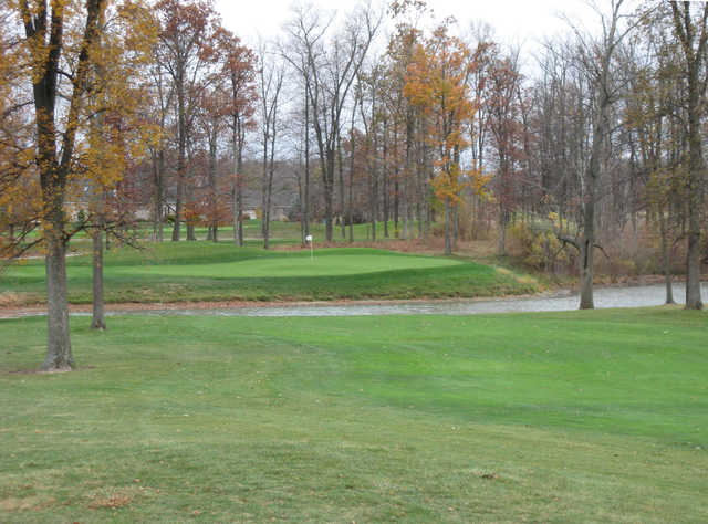 A view of a green with water coming into play at West Chase Golf Club.