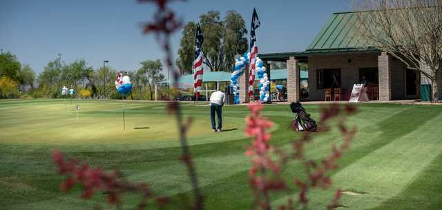 A view of the practice putting green at Aguila Nine Golf Course.