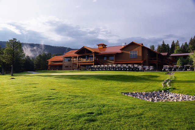 View of the clubhouse at Angel Fire Resort Country Club.