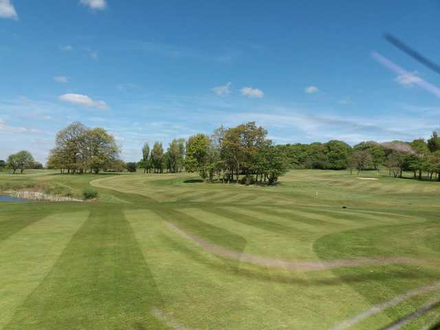 A view of green and fairway #10 at Balcarres Course from Haigh Hall Golf Club.