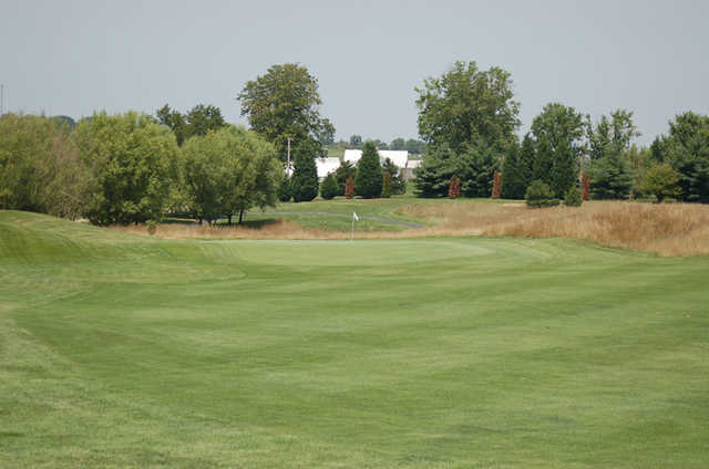 A view of the 1st green at Crossings Golf Club.