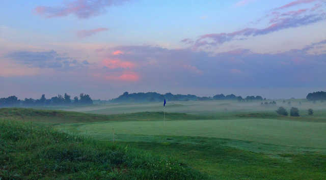 A view of a green at Crossings Golf Club.