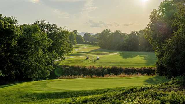 A sunny day view of a hole at Franklin Bridge Golf Club.