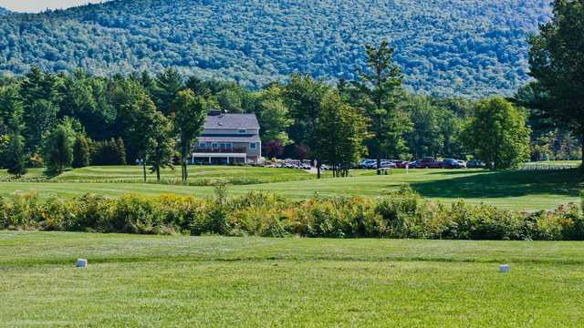 A view from a tee and the clubhouse in background at Ridgewood Country Club.