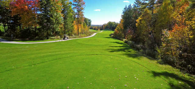 A fall day view from a tee at Lochmere Golf & Country Club.