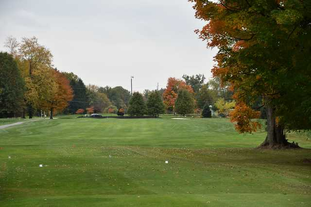A fall day view from a tee at Black Brook Golf Course & Practice Center.
