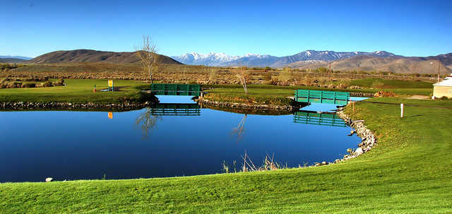 A view of a tee at Eagle Valley Golf Course.