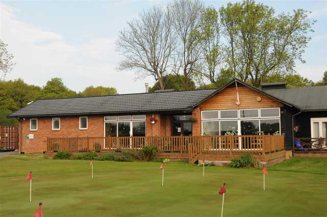 View of the clubhouse and putting green at Chesham & Leyhill Golf Club