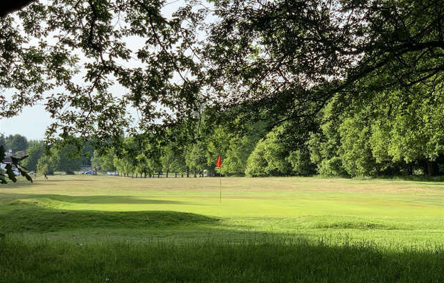Looking back from a green at Chesham & Leyhill Golf Club
