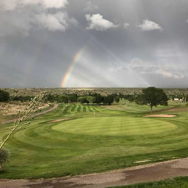 A view of the rainbow protecting a green at Scott Park Golf Links.