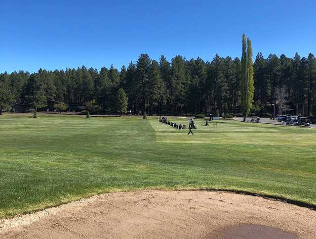 A view of the driving range at Pinewood Country Club.