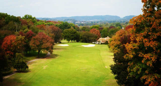 A fall day view of a fairway at Temple Hills Country Club.