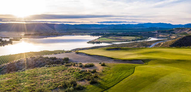 View of the 2nd green from the 3rd tee box at Gamble Sands Golf Club.