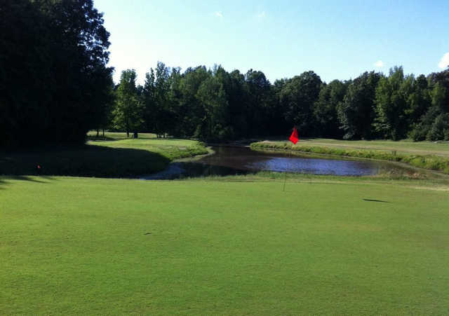 A view of the 15th hole at Emerald Lakes Golf Course.