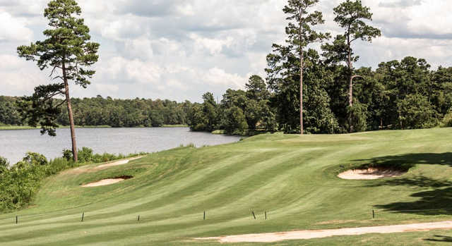 A view of a hole with bunkers and water coming into play at Texarkana Golf Ranch.