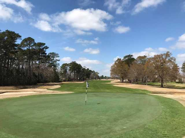Looking back from the 18th green at Lion's Paw Golf Links.