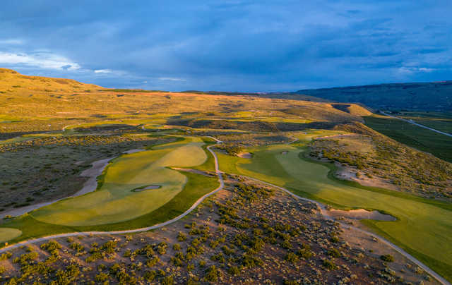 View of the 17th and 3rd greens at Gamble Sands Golf Club.