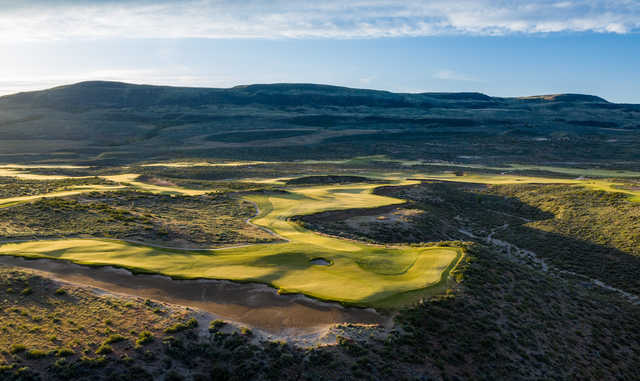 View of the 4th green and 5th tee at Gamble Sands Golf Club.