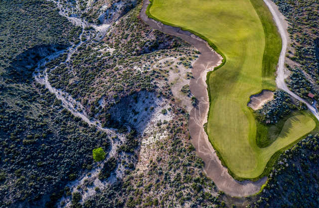 Aerial view of the 4th green at Gamble Sands Golf Club.