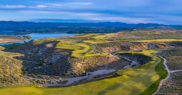 Panoramic view of the 7th, 6th and 5th at Gamble Sands Golf Club.