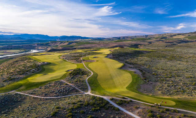 View of the 3rd and 17th greens at Gamble Sands Golf Club.