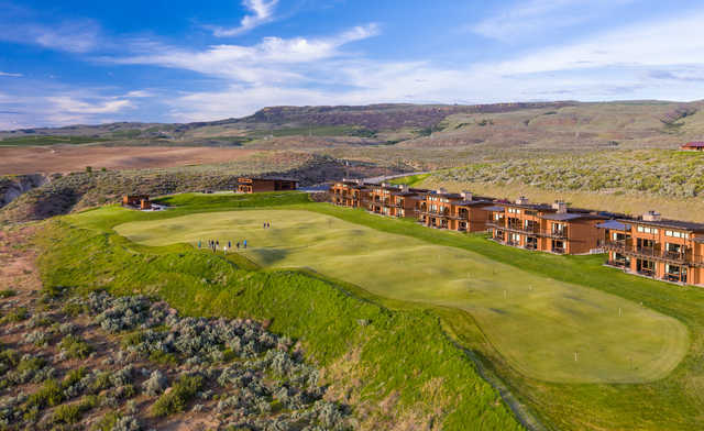 View of the putting green at Gamble Sands Golf Club.