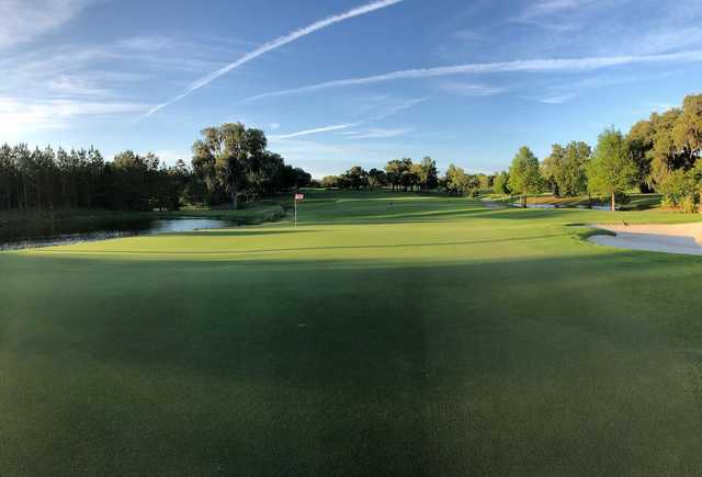 A view of a hole with bunkers and water coming into play at Juliette Falls.