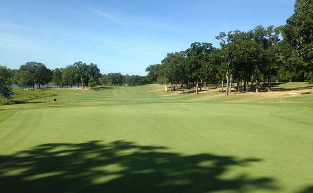 A sunny day view of a hole from Dogwood at Garden Valley Golf Resort.