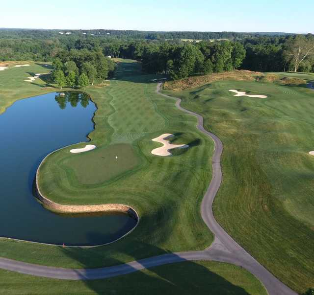 Aerial view of the 18th hole at Cattail Creek Country Club.