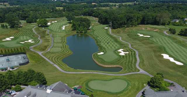 Aerial view of the 16th, 17th and 18th holes at Cattail Creek Country Club.