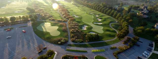 Aerial view of the 9th hole at Cattail Creek Country Club.