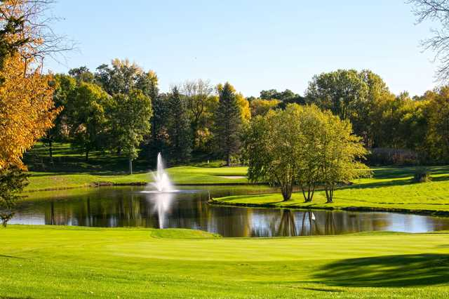 A fall day view of two holes from Island View Golf Club.