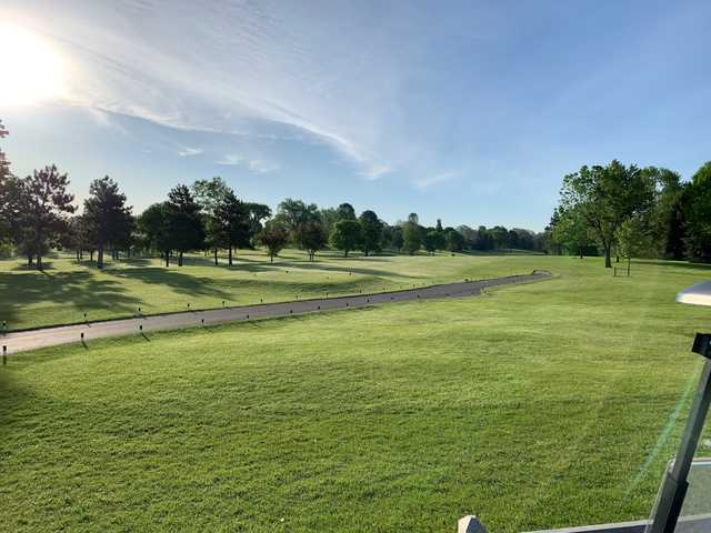 A view of a tee at Greenhaven Golf Course.