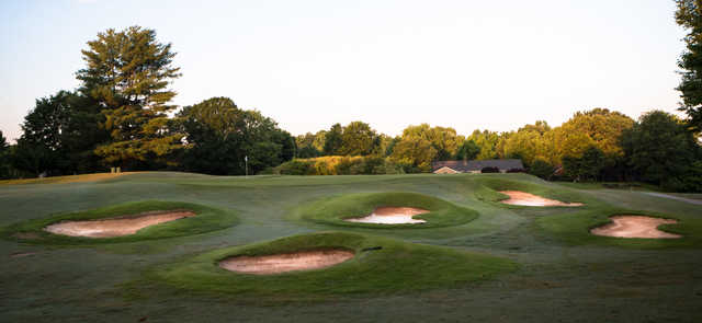 A view of a well protected green at The Cardinal by Pete Dye.