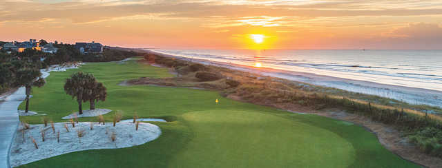 A sunset view of a hole from Turtle Point at Kiawah Island Golf Resort.