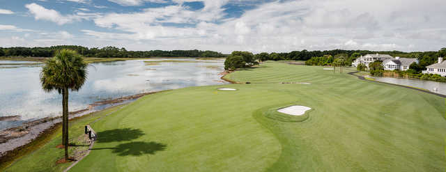 A sunny day view of a green from Oak Point at Kiawah Island Golf Resort.