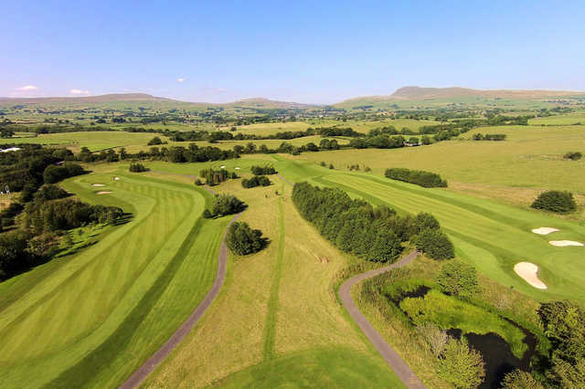 Aerial view of the 5th, 6th and 7th hole from Bentham Golf Club.