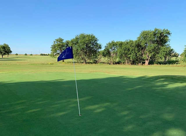 A view of the 2nd green from The Greens of Altus Golf Course.