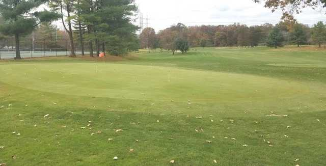 A view of the practice putting green and a tee at Jefferson District Golf Course.