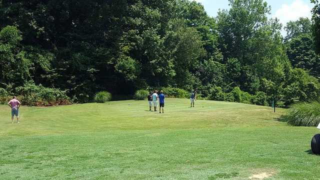A view of a tee at John James Audubon Golf Course.