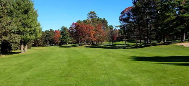 A fall day view from a fairway at Timber Ridge Golf Club.