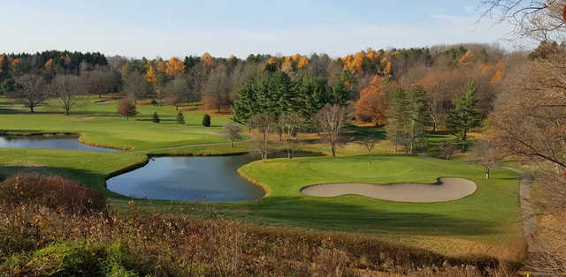 A fall day view of a green at Wayne Hills Country Club.