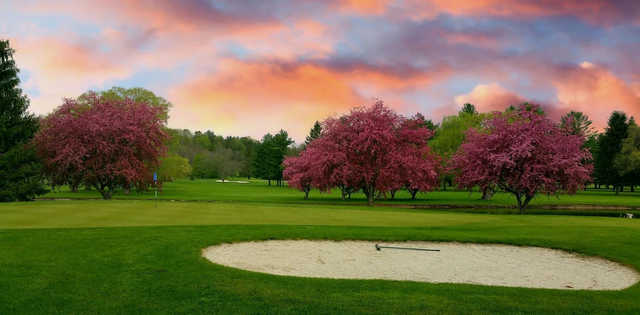 A sunset view of a hole at Wayne Hills Country Club.