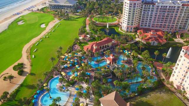Aerial view of the waterpark at Hammock Beach Resort.