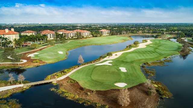 Aerial view of the 9th and 18th holes from The Gold Course at Tiburón Golf Club