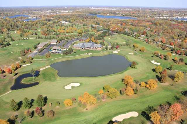 Aerial view of the 8th and 9th holes from the South Course at Walnut Creek Country Club.