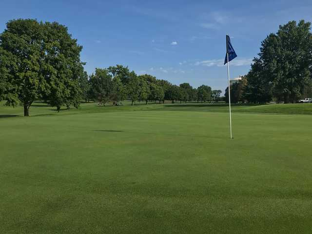 A sunny day view of a green at Village Greens of Woodridge.